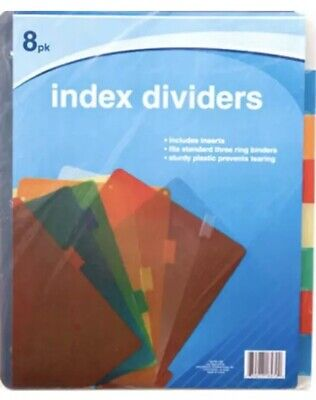 Binder Index (Jot PLASTIC Standard 3-Ring Binder Index Dividers with Tabs Mixed Colors~1 Pack)