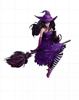 "5"" Sexy Witch Halloween Magic Purple Hat Broom Black Cat Hot Girl Bumper Sticker"