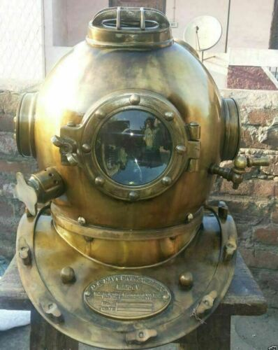 Vintage Boston Antique Scuba Diving Helmet Brass Morse Divers Navy Sea Helmet