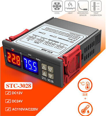 Dual Lcd Temperature Controller Stc-3028 Digital Humidity Controller W Sensor