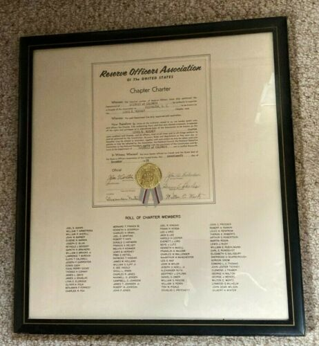 RESERVED OFFICERS ASSOCIATION CHAPTER CHARTER  LEWIS B. HERSHEY FRAMED ROLL CALL