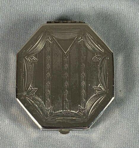 Vtg Art Deco Powder Compact Etched Silvertone