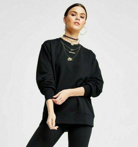 Womens Nike Gold Chain Pullover Sweatshirt Black Yellow Gold CZ4022 010