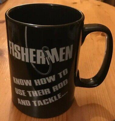 "VERY BIG FISHERMAN'S MUG Cheeky ""Rod & Tackle"" Quote CERAMIC BLACK Fishing/Dad"