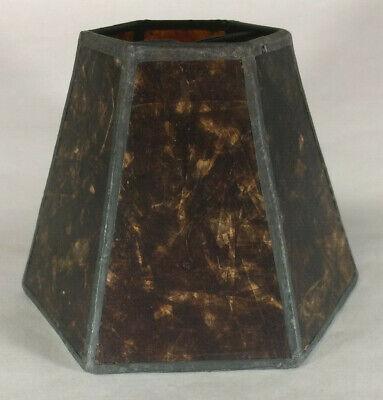 "3""x6""x4.25"" Mini Mica Chandelier Shade Amber Color Hexagon Style Bulb Clip #751M"