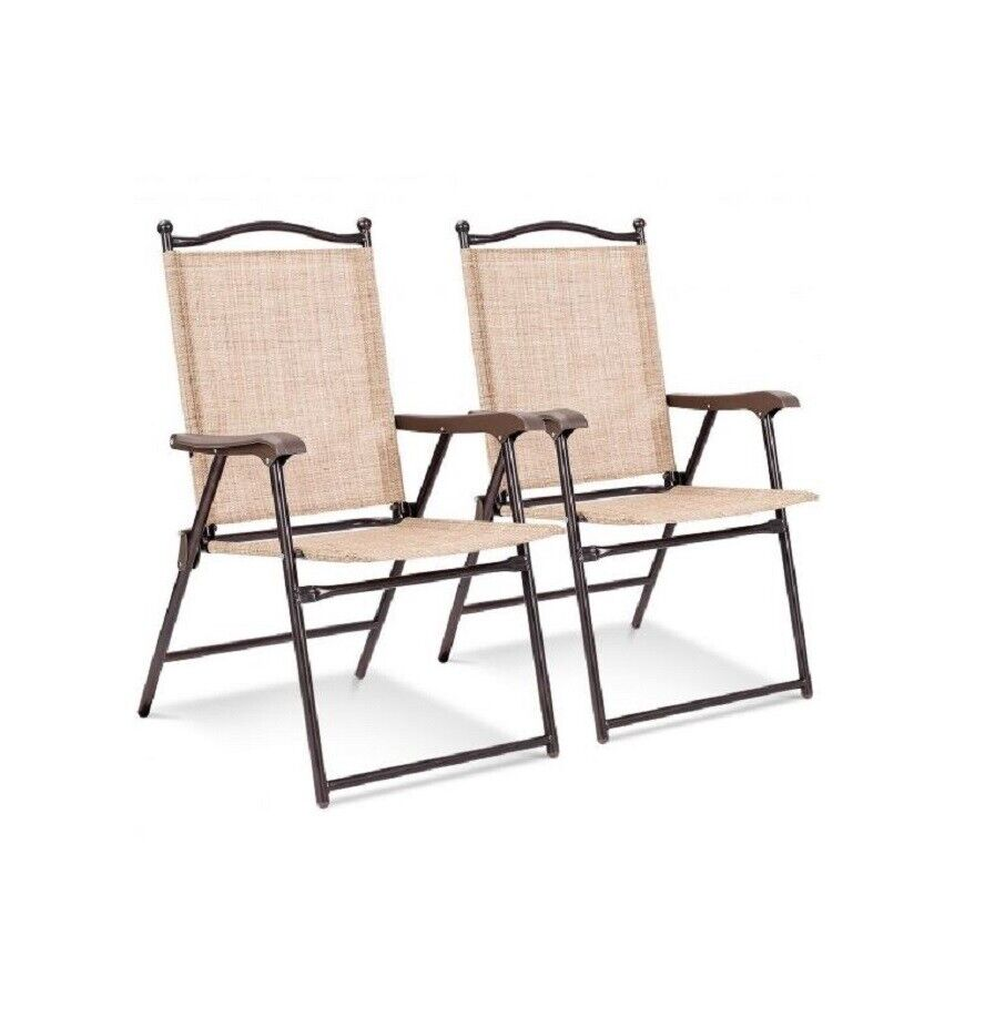 Set of 2 Sling Back Chairs Outdoor Folding Deck Camping Patio Garden Chairs