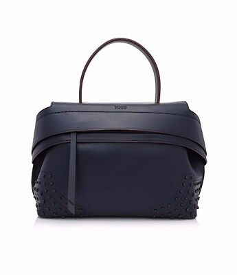 $2665 NEW 2017 AUTHENTIC TOD'S WAVE SMALL LEATHER TOTE BAG Navy Blue