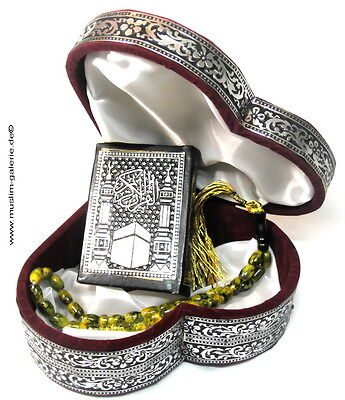 Kleine Quran Truhe Herz+GebetsketteTesbih+Koran*Islam Allah hijab Muslim Kaftan*