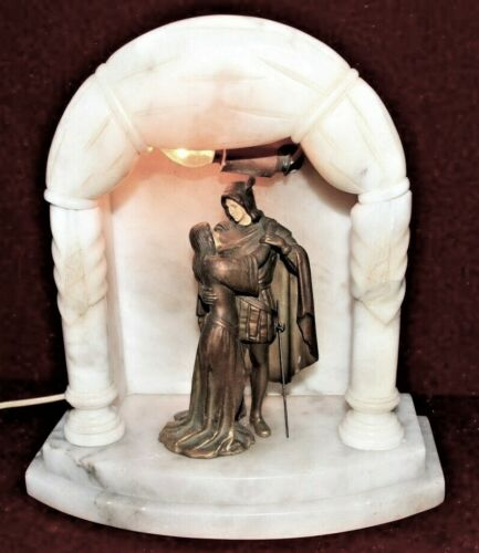 Shakespeare  Bronze Group  Love Theme  Alabaster Marble  Light Rare to find