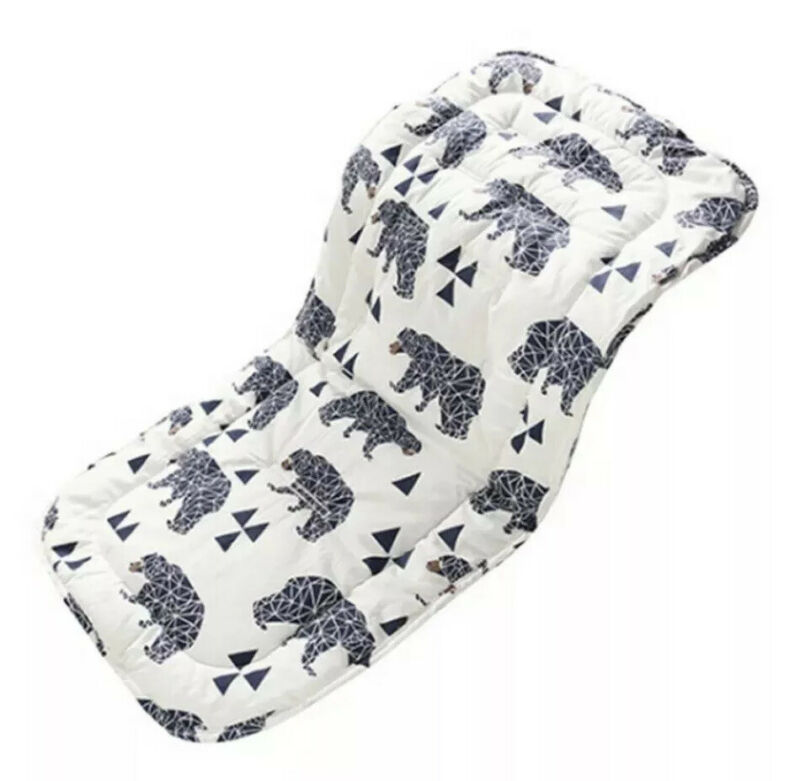 White Black Bear Universal Reversible Baby Seat/ Stroller Cushion Pad