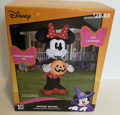 Gemmy Industries Airblown Inflatable Retro Minnie Mouse with Pumpkin 5' Tall