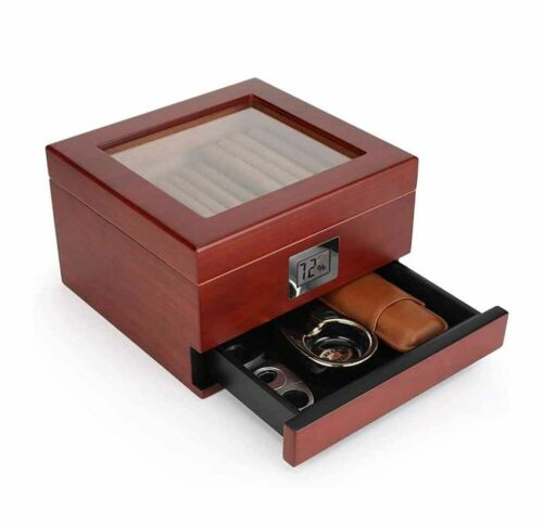 Glasstop Handcrafted Cedar Humidor Box with Accessory Drawer,Digital Display