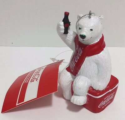 NEW Coca Cola Christmas Ornament Polar Bear Sitting On Coke Cooler Kurt Adler