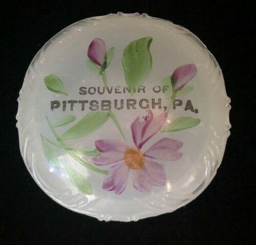 """Flint Clambroth Opalescent Souvenir of Pittsburgh, Pa. Jefferson """"Fleur DeLis"""""""