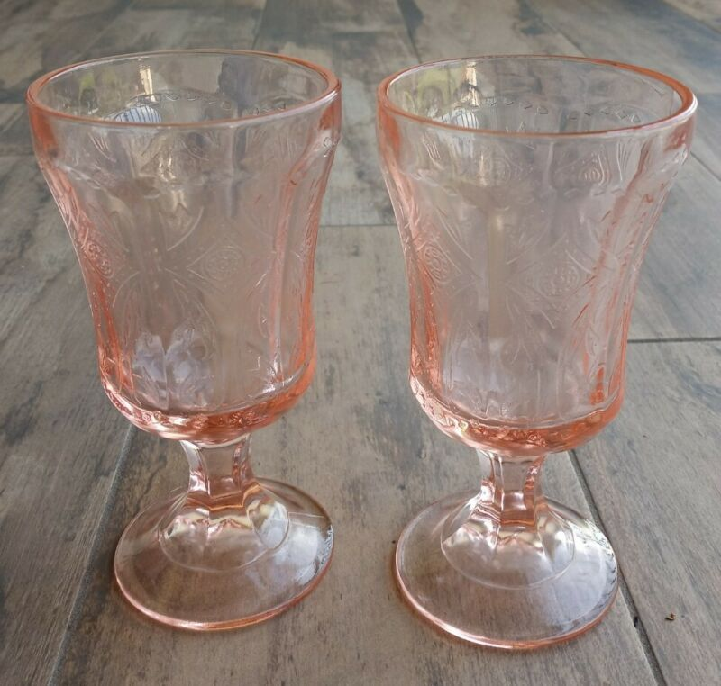 Vtg Pink Indiana Glass Depression Footed Water Wine Goblets  Madrid Pattern  (2)