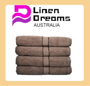 4 x 100% Cotton Bath Towel 70cm x 140cm--Chocolate (8 colours)