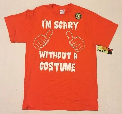 NWT Men's M HALLOWEEN Glow In The Dark I'M SCARY WITHOUT A COSTUME T-Shirt ()