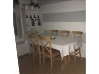 Solid dining room table with or without matching chairs - pine/oak