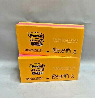 Lot Of 2 Post-it Super Sticky Pop-up Notes 3x3 Rio De Janeiro 6 Pads