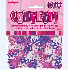 Confetti happy 100th birthday glitz pink m55466 party for 100th birthday decoration ideas