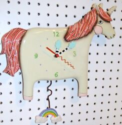 Allen Designs Whimsical Unicorn CLOCK,BUTTERCUP CLOSE OUT SALE ship in 48 hrs