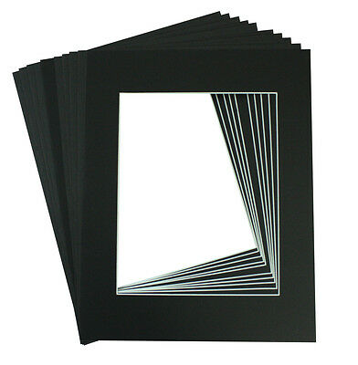 Pack of 10 11x14 BLACK Picture Mats with WhiteCore for 8x10 Photo