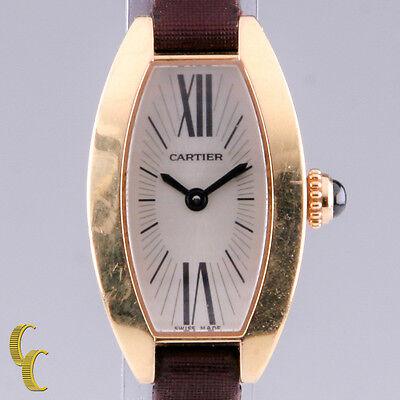 Cartier 18k Rose Gold Mini Tonneau Lanieres Quartz Watch w/ Original Band 2592