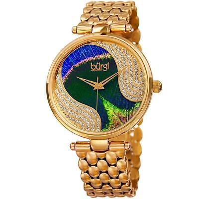 Burgi BUR162YG Genuine Swarovski Crystal Peacock Feather Gold Tone Womens Watch