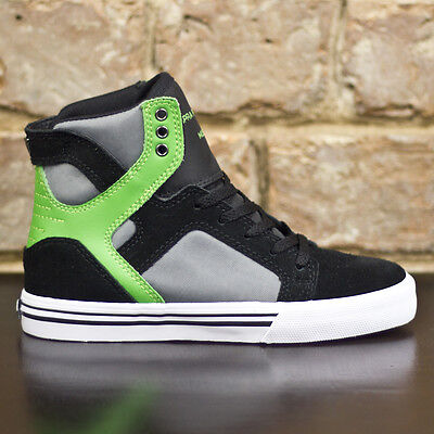 Supra Kids Skytop Trainers new in box in Black / Green UK Size 11,12,1,2,3,4,5