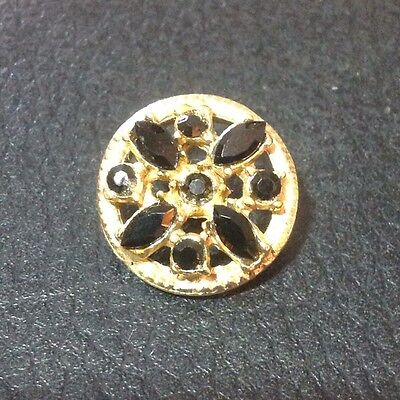"Vintage 3/4"" Gold Color Metal Black Glass Rhinestone Button"