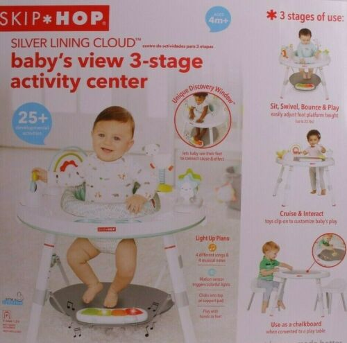 Skip Hop 303326 3-Stage Grow-with-Me Baby Activity Center, Silver Lining Cloud