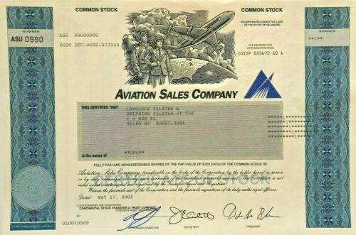 Aviation Sales Company stock certificate