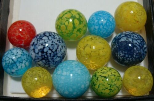 12 Marbles Art Glass Handmade Speckled Guineas Baby Blue Red Yellow Green