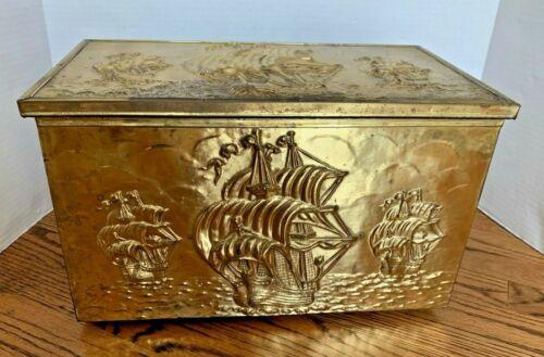 REDUCED!!! Vintage Embossed Brass Coal/Kindling Fireplace Box