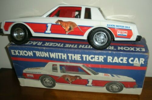 "Exxon Run with the Tiger 16"" PLASTIC Race Car Made in USA IN BOX"