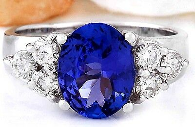3.01CTW NATURAL TANZANITE AND DIAMOND RING IN 14K WHITE GOLD