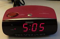 PINK Philips Magnavox AJ3199/17 Dual Alarm Clock CD Player AM FM Radio Tested
