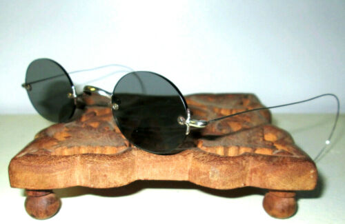 Antique Smoky Rimless Sunglasses Retro Vtg Old Civil War Steampunk Gray Glasses