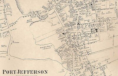 Port Jefferson Stony Brook NY 1873 Map with Homeowners Names Shown