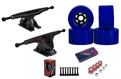 """Cal 7 Longboard 10.75"""" Axle Truck Bearing 90mm Blue Skateboard Fly Wheels"""