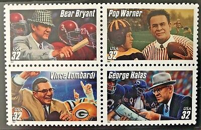 FOOTBALL COACHES - SET OF FOUR  32 cent COMMEMORATIVE STAMPS - 1997 USPS MNH