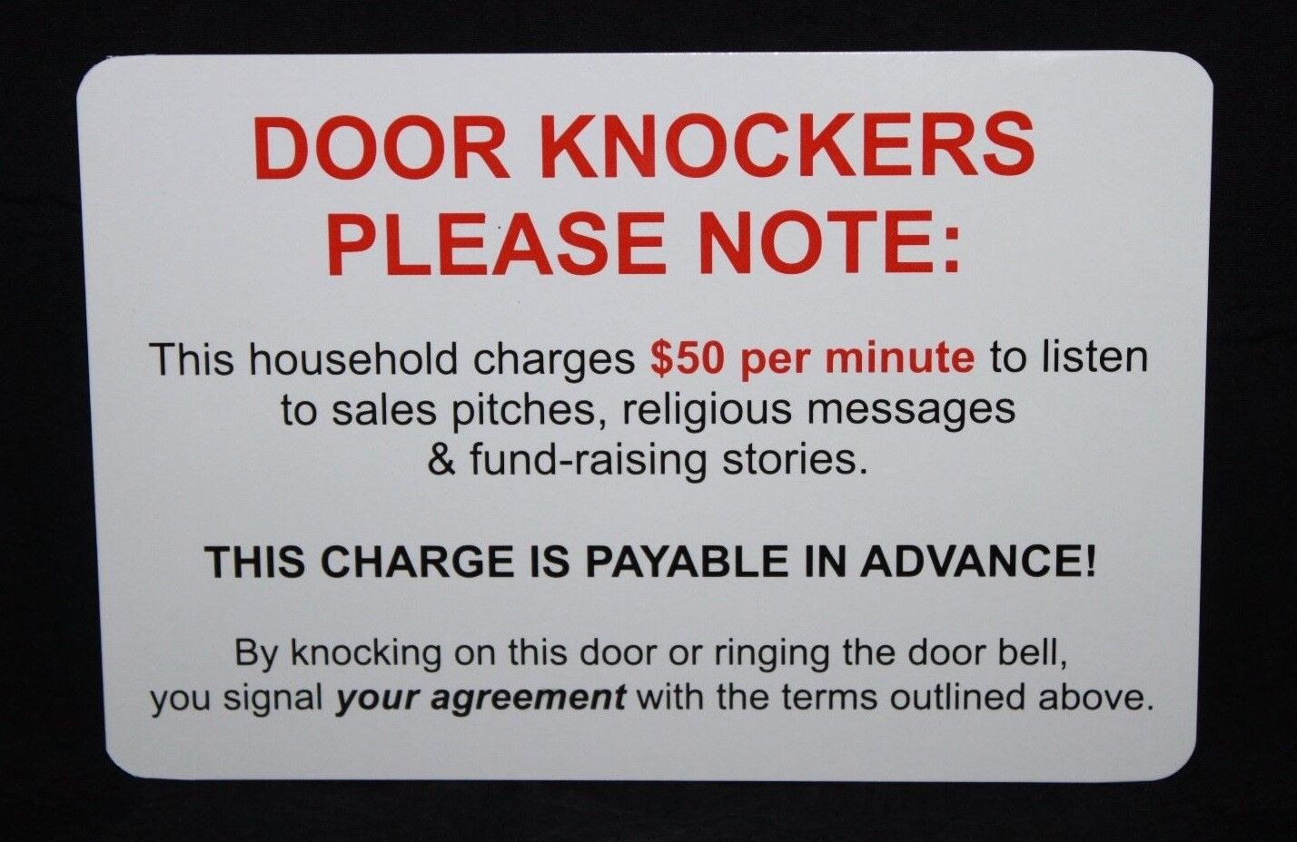 No Soliciting Funny Humorous Door/Window Sign Heavy 4×6 Card Stock NEW