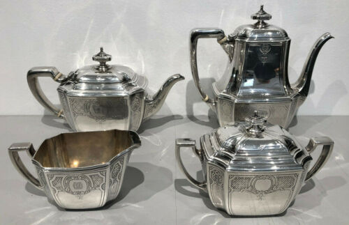 HAMPTON ENGRAVED by Tiffany & Co. Sterling Silver 4 Piece Tea & Coffee Service