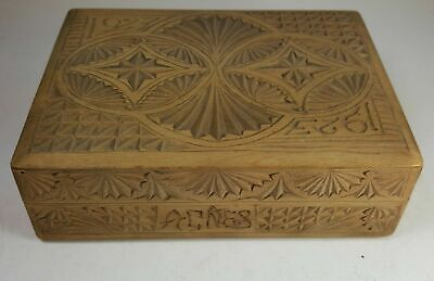 CHIP CARVED WOODEN CIGAR CIGARETTE PLAYING CARDS TABLE BOX - 1923 AGNES