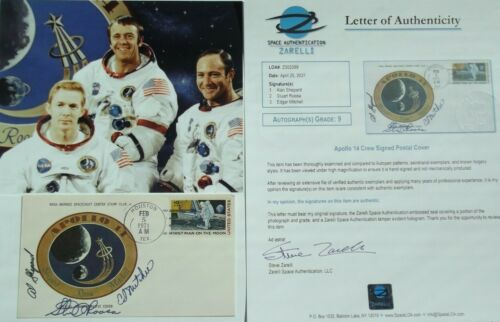 Apollo 14 Crew Signed Insurance Cover Shepard, Roosa & Mitchell Authenticated