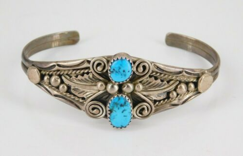Vintage Southwestern Leon Martinez Sterling Silver Turquoise Cuff Bracelet