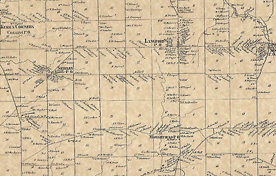 North Collins Langford Lawtons New Oregon NY 1866 Maps with Homeowners Shown
