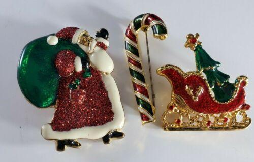Vintage Christmas Holiday  Brooch Pin Lot Santa Candy Cane Sleigh Lot