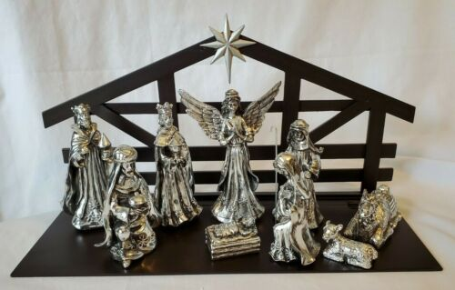 Antique Silver Nativity by International Silver Co. with Wood Creche