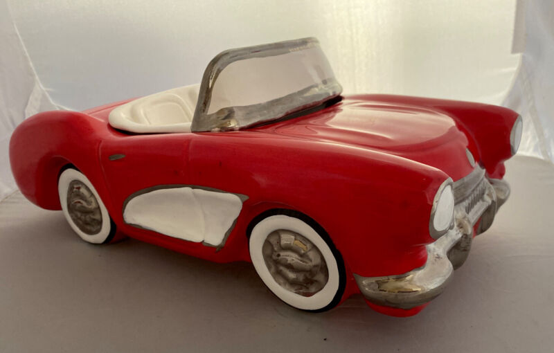 RARE Red 1956-57 Corvette Cookie Jar/Candy/Nut Dish,  NAC Inc, USA